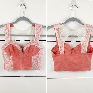 UO PINS AND NEEDLES Cropped Bustier Lace Zipper Sm